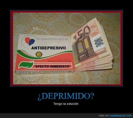 antidepresivo,dinero,efecto inmediato,medicacion,medicamento,pastilla
