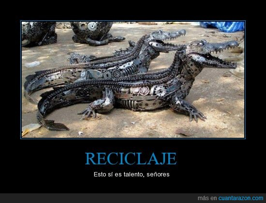 caiman,cocodrilo,metal,pieza,recicla