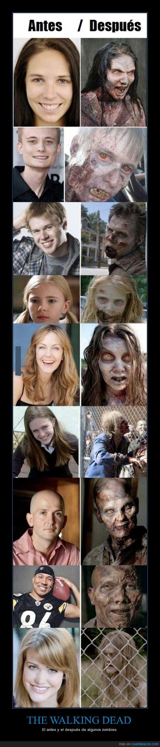 antes,caminantes,después,metamorfosis,The Walking Dead,transformación,zombies