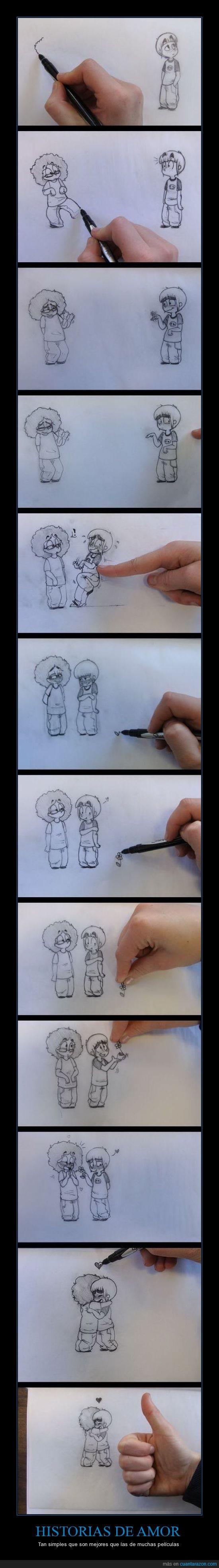 abrazo,amor,chica,chico,dibujod,historia de amor,lápiz,papel