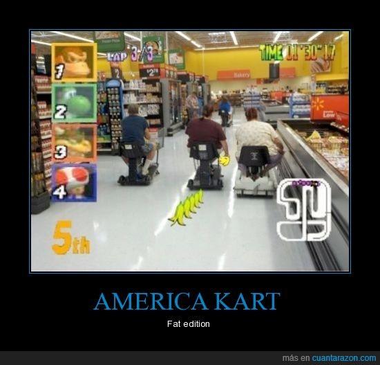 america,estados unidos,gordo,kart,mario,supermercado