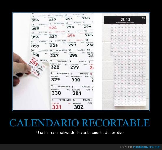 Calendario,días del año,hogar,inventos geek,oficina,recortable