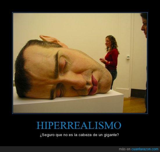 cabeza,escultura,exposicion,gigante,hiperrealismo,museo,real