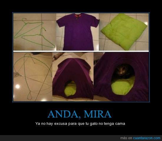 cama,camiseta,cojin,gato,practico,reciclable