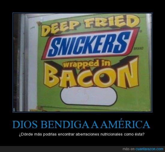 bacon,chocolate,chocolatina,envuelto,ESTADOS UNIDOS,freir,frito,que síii que america es un contineeeente,snickers,wrapped