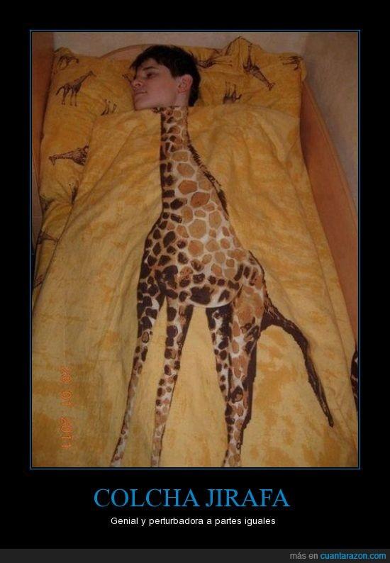 cabeza,cama,colcha,cuello,edredon,jirafa,manta,sabana
