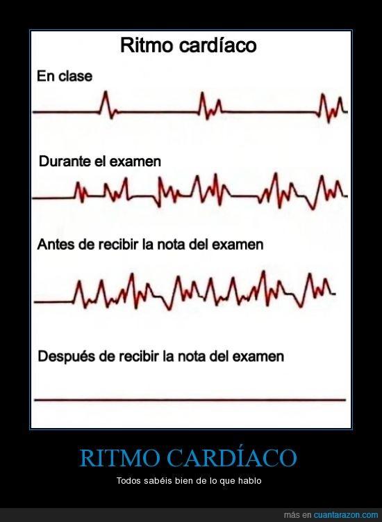 corazon,En clase,examen,muerte,nervios,Parcial,Ritmo Cardíaco,Universitarios