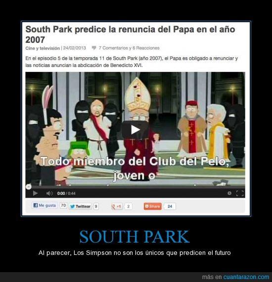 benedicto,futuro,papa,predecir,renuncia,south park