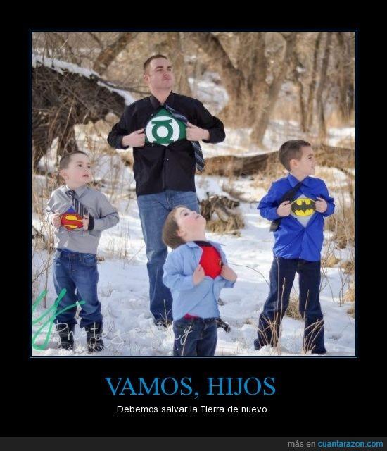 batman,heroes,hijos,linterna verde,mejor ignoramos al de en medio,padre,superman