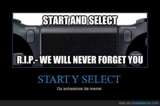 echar de menos,mando,ps4,racordar,RIP,select,stert