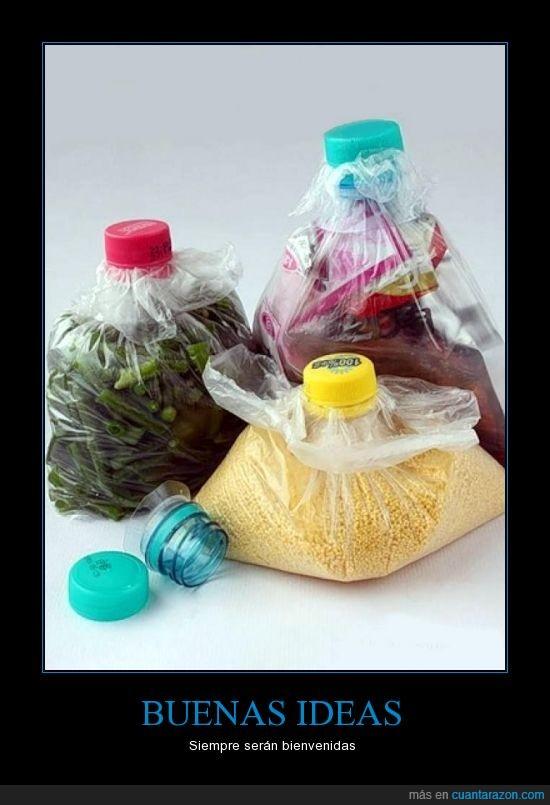 almacenar,bolsas,idea,solución,tapas