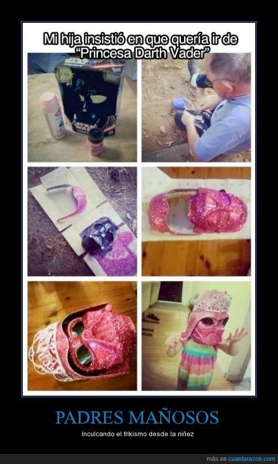 casco,darth vader,hija,niña,princesa,princesa darth vader,purpurina,rosa,star wars