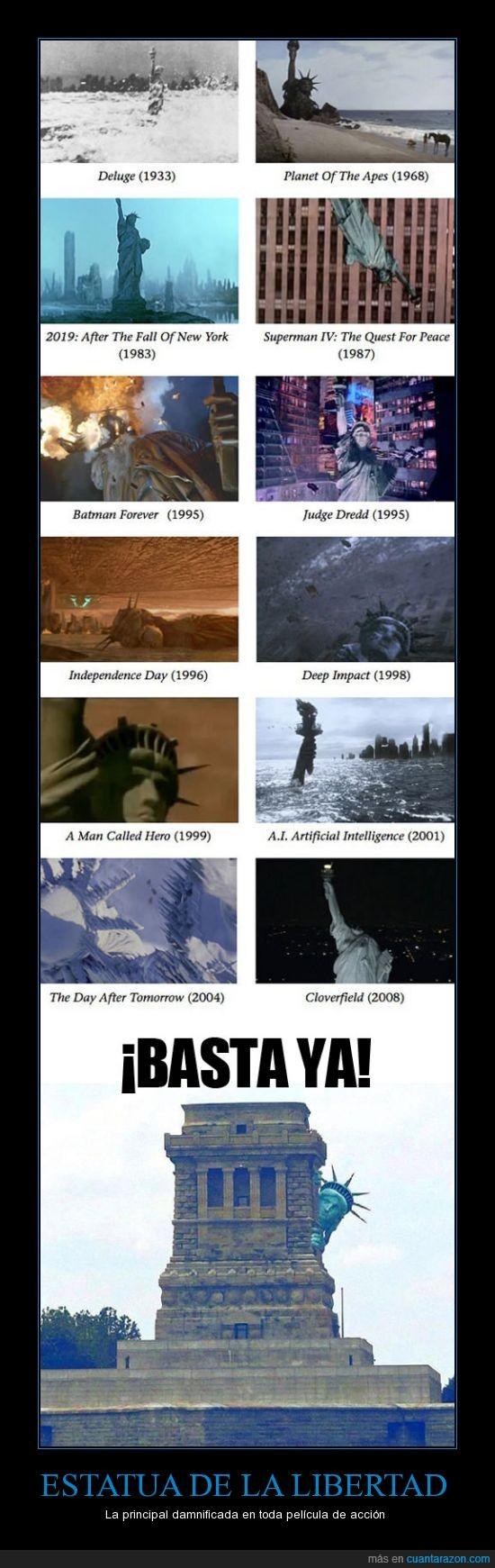 cine,destrozada,estatua de la libertad,películas