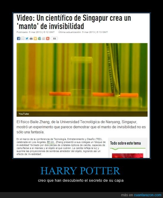 capa,ciencia,harry,hogwarts,invisibilidad,invisible,potter,rt,tecnología