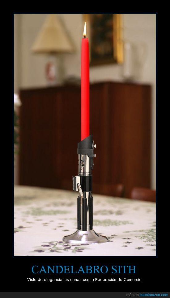 candelabro,cena,jedi,laser,rojo,sable de luz,sith,star wars,vela