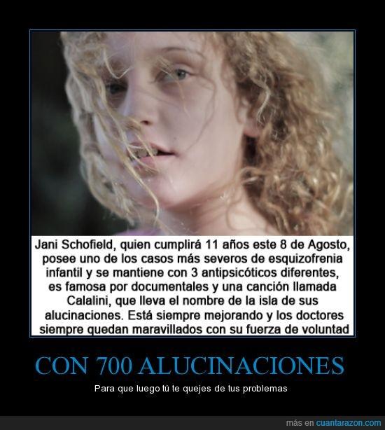 alucinaciones visuales auditivas,antipsicoticos,calalini,ejemplo de niña,esquizofrenia infantil,jani schofield,january schofield,niña esquizofrenica