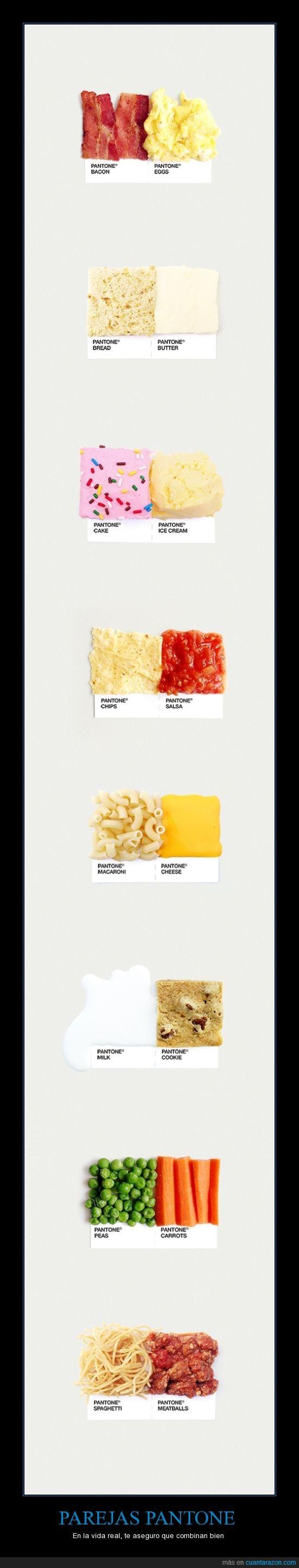 . combinacion,carne,color,combinar,comida,espaguetis,helado,pantone,pareja