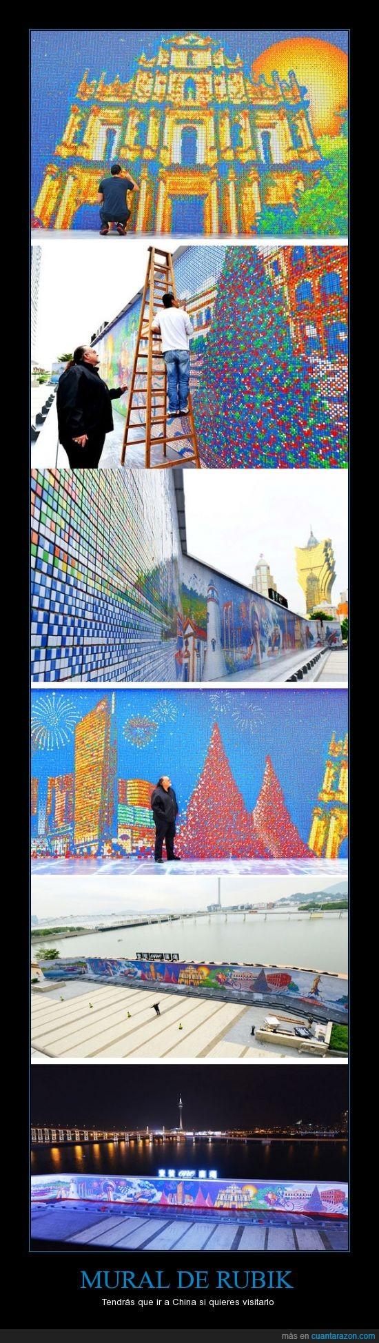 china,dibujo,macau,mural,pared,rubik