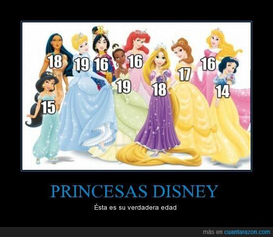 ariel,bella,blancanieves,cenicienta,edad,jasmine,mulan,pocahontas,princesas,rapunzel,tiana