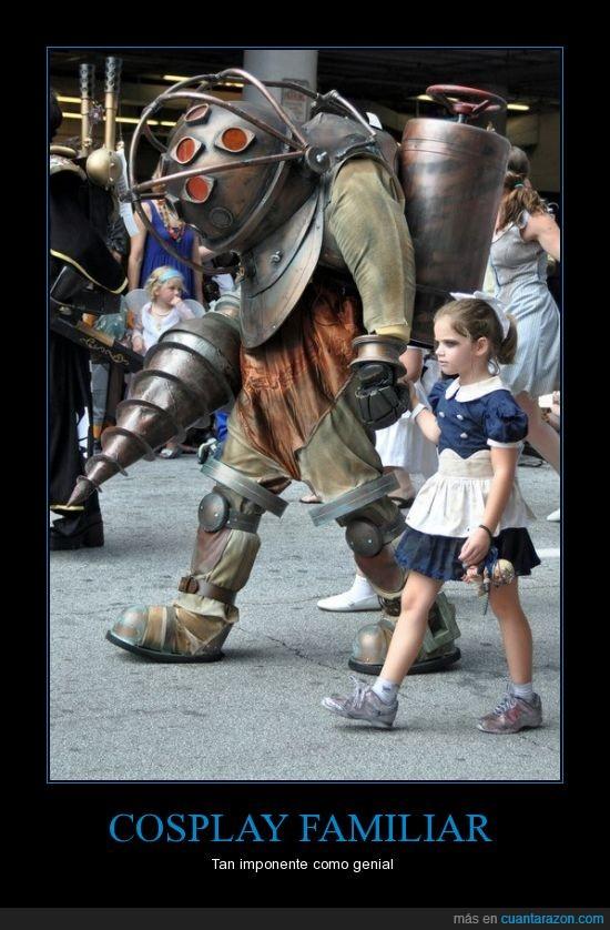 big daddy,bioshock,cosplay,familia,hija,little sister,padre