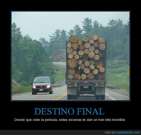 camión,destino final,jiñe,miedo,troncos