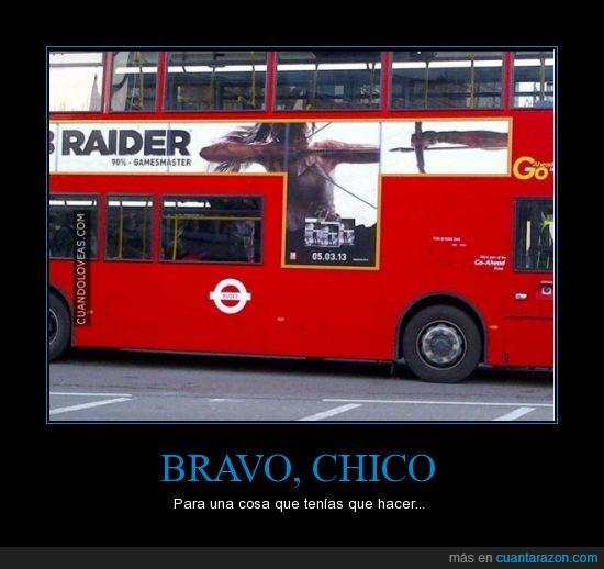 arco,autobus,girado,lara croft,pegar,plecha,reves,tomb raider