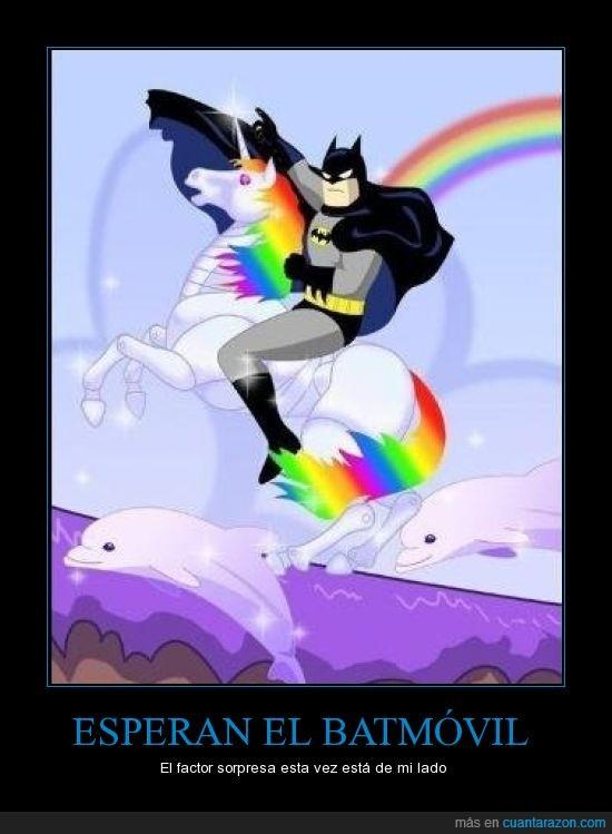 absurdo,arcoiris,batman,batmovil,inesperado,unicornio