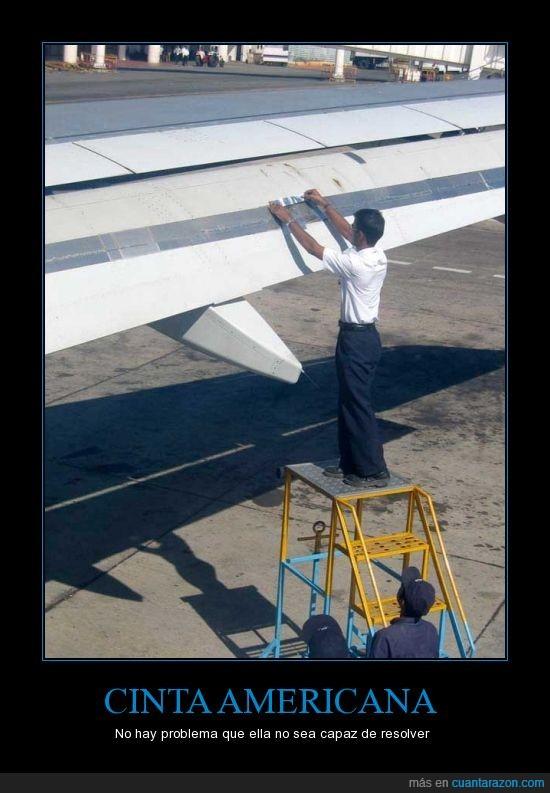 ala,americana,avion,celo,cinta,duct tape,plateada,precinto