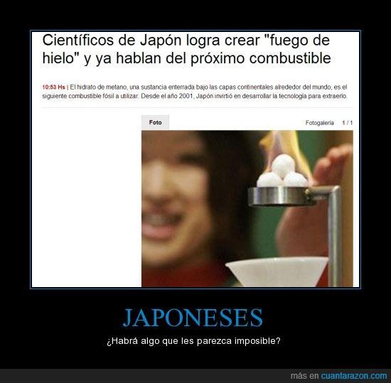 combustible,energia,fuego,hielo,imposible,Japoneses
