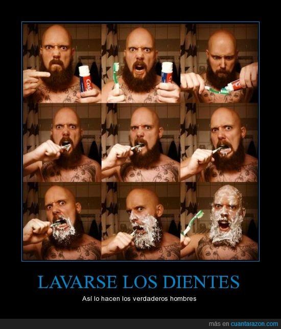 barba,calvo,cara,cepillar,cepillo,diente,hombre,lavar,lleno,pasta,tatuaje