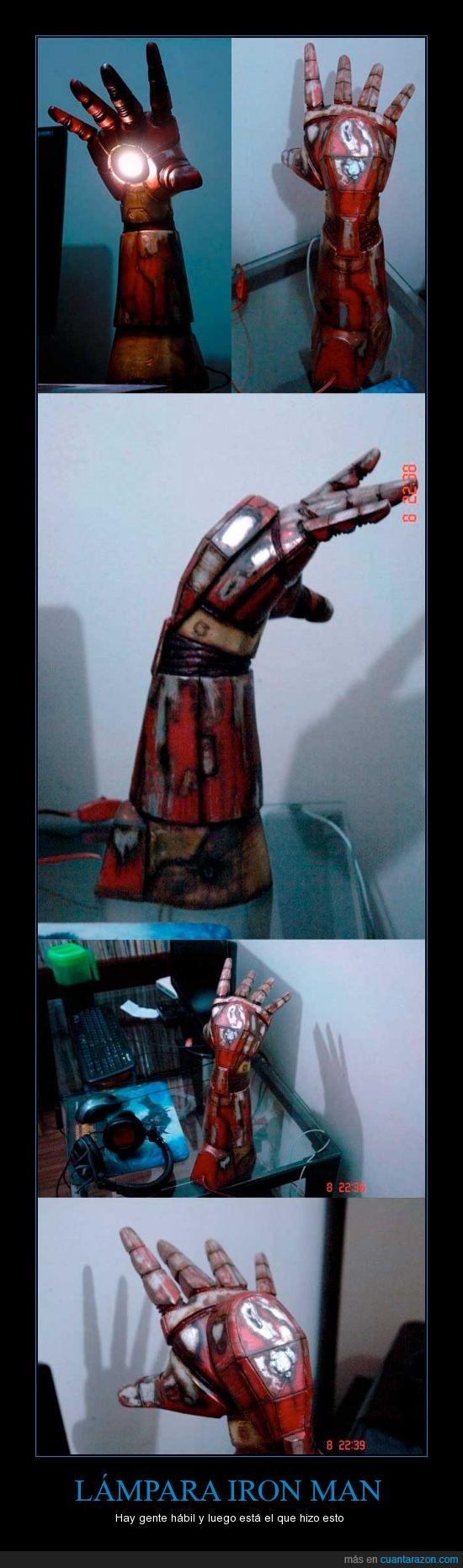 brazo,habitacion,iron man,lampara,luz,manualidad
