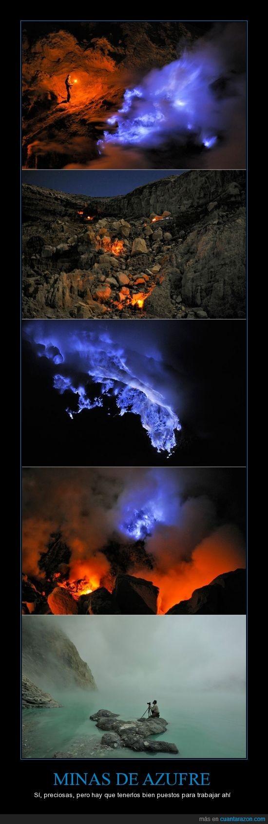 aire venenoso,azufre,fuego azul,mina,respira y muere,volcan