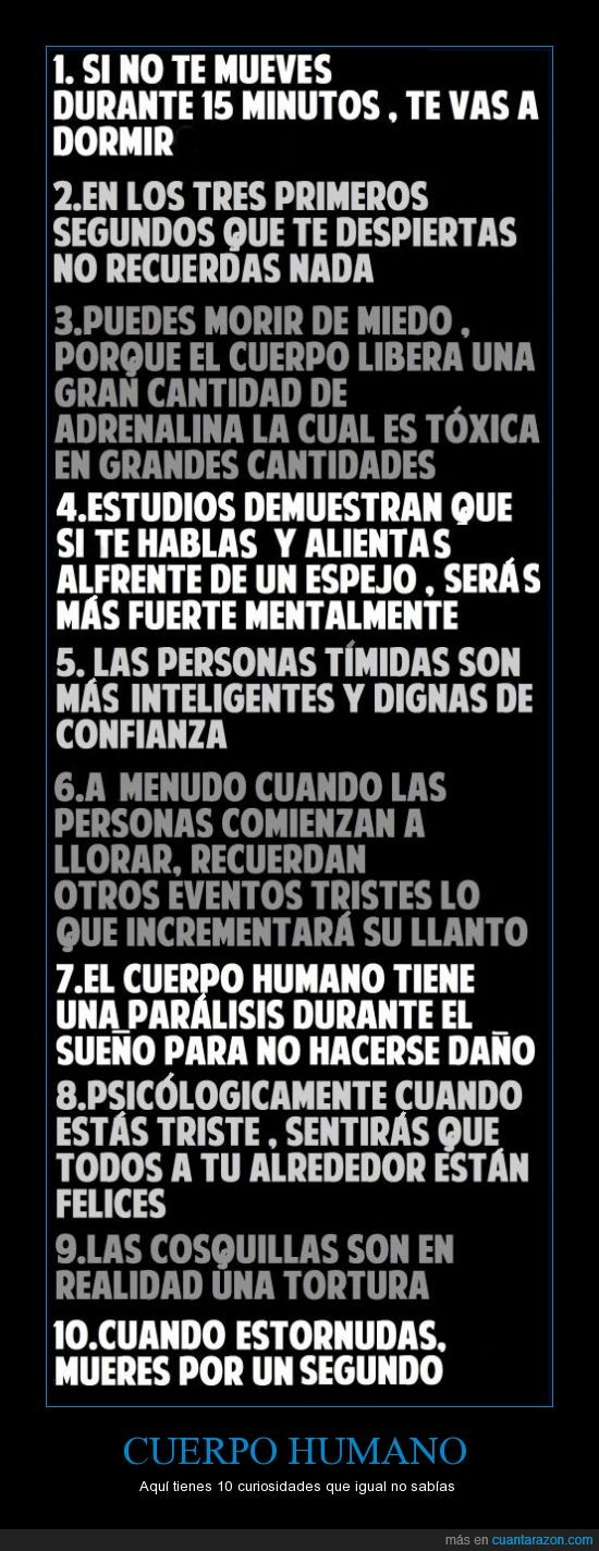 10,cerebro,curiosidades,curioso,dolor,dormir,llorar,miedo,psicologica,timidez
