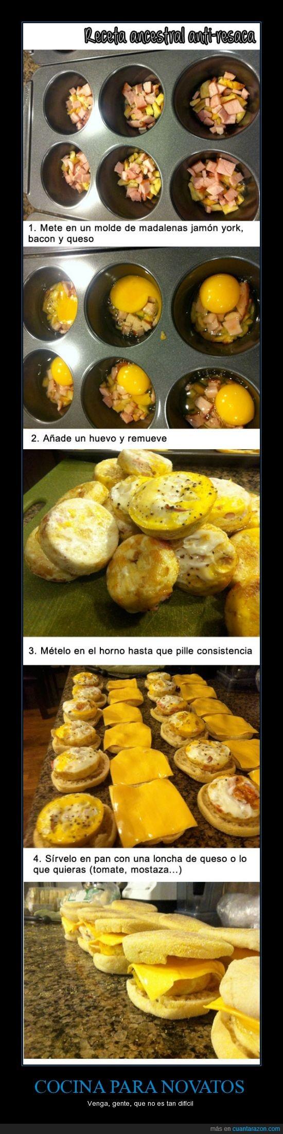 ancestral,bocadillo,comer,horno,huevo,madalena,molde,queso,receta,resaca