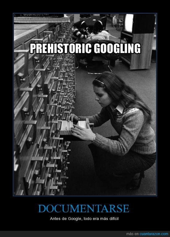 biblioteca,ficha,google,mirar,prehistoric googling,tarjeta