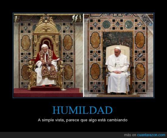 benedicto,francismo,humildad,oro,papa,sencillez,silla,trono,valores