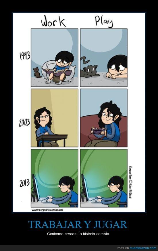 adolescente,consola,crecer,gato,jugar,niño,ordenador,trabajar