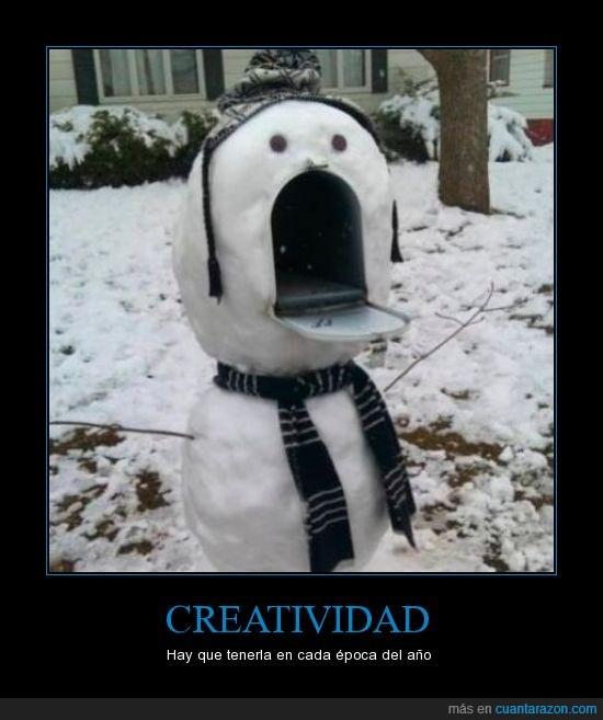boca,buzón,muñeco,nieve