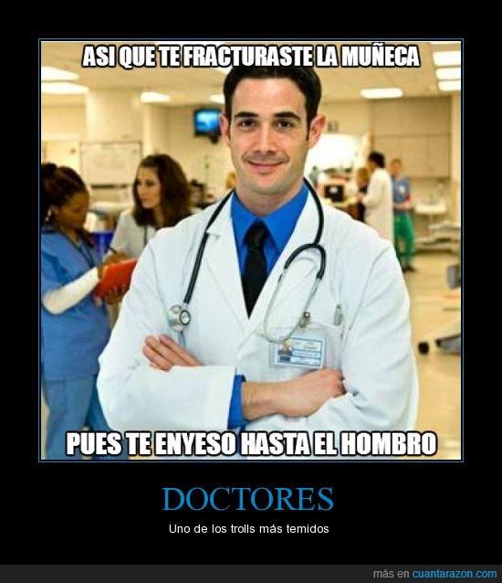 doctores,escayolar,fractura,hombro,muleca,troll,yeso