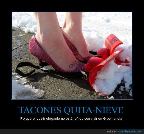 estil,glam,groenlandia,nieve,quitanieves,tacones,zapatos