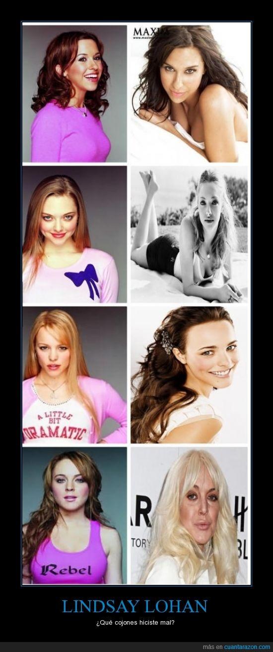 antes y después,cambio,droga,famosas,horrible,Lindsay Lohan,modelos,vieja