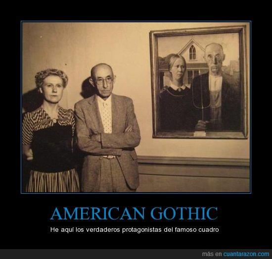 american gothic,cuadro,señor,señora