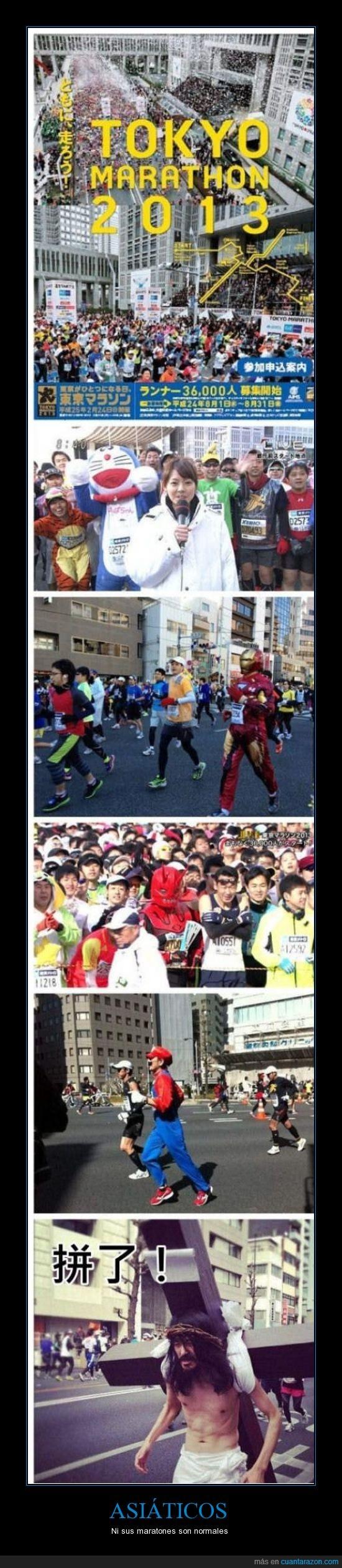 asiáticos,correr,Iron Man,Japón,Jesús,maratón,mítico,personas,Tokyo