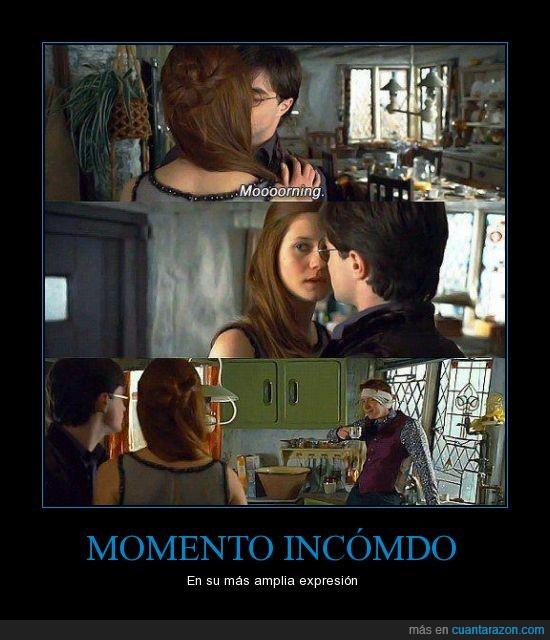 Beso,George Weasley,Ginny Weasley,Harry Potter,Momento Incómodo