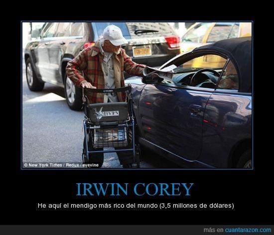 homeless,Irwin Corey,mendigo,millones,rico