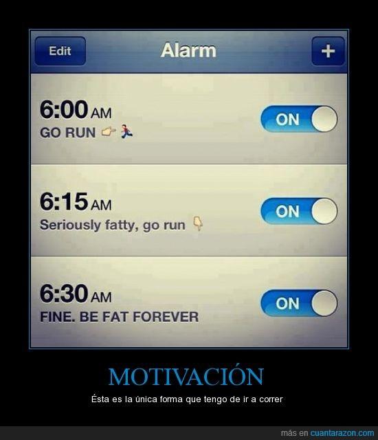alarma,bien,correr,despertador,quedate gordo para siempre,ve a correr
