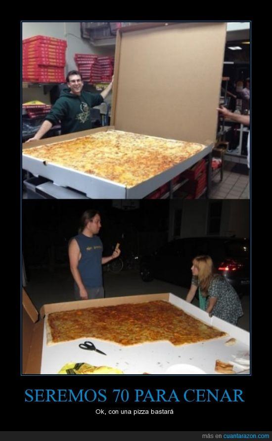 70 personas,enorme,gigante,grandiosa,pizza