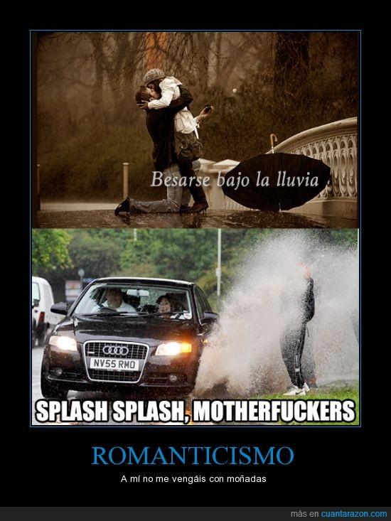 agua,amor,besar,beso,coche,lluvia,puente,salpicar