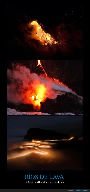 hawaii,isla,lava,mar,río,volcán