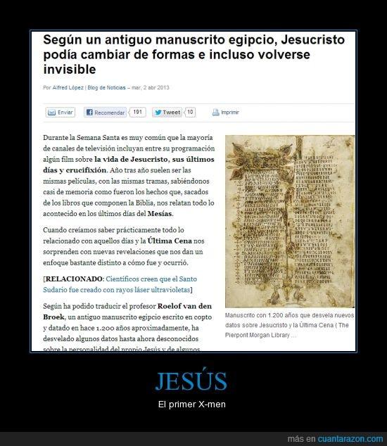 jesus,la religion es mas interesante de lo que creia,poder,x-men